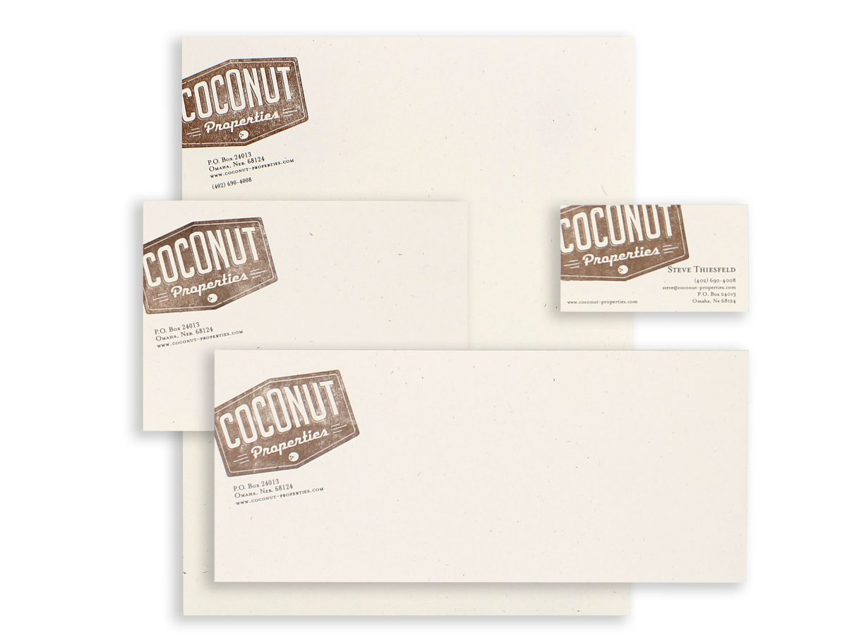 Stationery Coconut Properties Eleven19 Custom Graphic Design