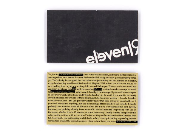 Eleven19 Temporary Business Cards Custom Design